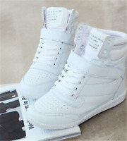 Women's Fashion Hidden Wedge Heels Casual Shoes Athletic High Top Sneakers White
