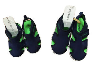 NWT, Baby's CARTERS Navy Troy Water Shoes with hook-&-eye Closure; Size 5 or 9
