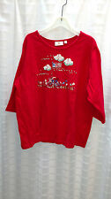Quacker Factory Embellished Bike Summertime 3/4 Sleeve Red T-Shirt Wmn Size 2X