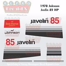1978 Johnson 85 HP Javelin Outboard Reproduction 14Pc Vinyl Decals MagnaFlash CD