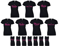 Wedding Party Ladies T-Shirts & Vests Pink Hen Do Novelty Printed Funny Joke Top