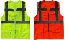 HI VIZ VIS ZIP UP VEST WAISTCOAT with Various POCKETS Yellow or Orange S-4XL