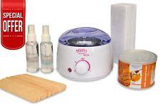Hair Removal Waxing Set Kit System Wax Heater Warmer Spatulas Strips  Depilatory