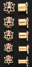 "1 Pair (2) 1/2"" 12mm 14K Gold Plated Pink Opal Lotus Flower Tunnels Ear Plugs 49"