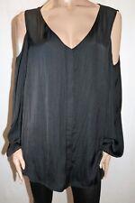 AUTOGRAPH Brand Black Cold Shoulder Long Sleeve Shirt Top Size 22 BNWT #SN44
