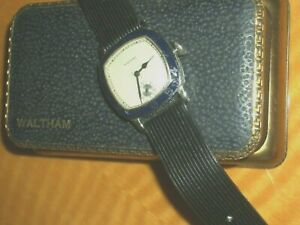 RARE DECO 1920s MEN'S WALTHAM ENAMEL BEZEL WATCH* 7-15J* W/BOX *RUNS/ACCURATE