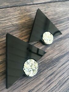 Melody Ehsani Moon Pyramid Statement Earrings Black Triangle Gold Nuggets