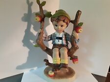 "CERAMIC FIGURE 11"" TALL YOUNG BOY SITTING IN TREE UNDAMAGED"