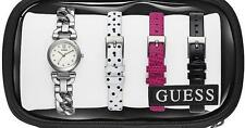 New GUESS Women's Silver Bracelet 3 Interchangeable Straps Watch U0712L1