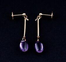 Georg Jensen 18 Carat Gold Dew Drop # 1146 Earrings w. Amethyst. Torun. NEW!