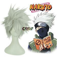 Hot Layered Hatake Kakashi Silver White 30cm Short Anime Cosplay Wig+Cap