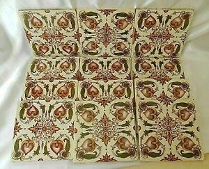 """Set of 12 Antique Art Nouveau Hand Painted Lily Ceramic Tiles,6""""x 6 x 1/4"""""""