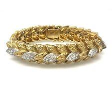 Pesado Vintage Tallado Hoja Diamante Brazalete en 18ct Oro Amarillo hm1930