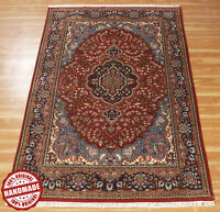 Medallion Red Blue 'Anuhprab' Hand Knotted Carpet Wool Handmade Area Rug 4x6 ft