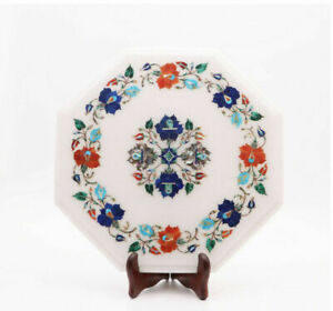 """15"""" Marble Side Corner Table Top Semi Precious Stones Floral Inlay work"""