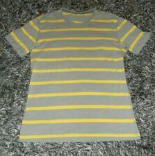 Lululemon Men's L/Large Grey Gray Yellow Striped Cotton Blend Short Sleeve Shirt