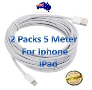 2 x Extra Long 5 Metre USB  Cable Charger for Apple iPhone 11Pro/10 ipad 4 Pro