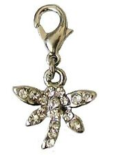 Silver Crystal Dragonfly Clip on Clasp Charms for Bracelet Necklace Women Girls