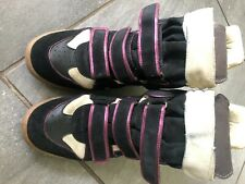 isabel marant etoile wedge sneaker/trainer, two tone suede/leather black 41
