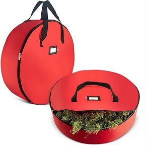 Tear-Resistant Christmas Wreath Storage Bag 2 Pck 36''Red