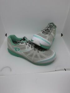 Pearl izumi Womens Cycling Shoes Sz 10.5 Teal Grey White Lightly Worn