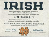 NOTRE DAME FIGHTING IRISH FOOTBALL~ CERTIFICATE ~ DIPLOMA  ~ MAN CAVE  TRUE FAN