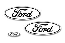 Ford Oval Badge Emblem Logo Overlay Sticker Decal Set For Ford F150 15-18 BLK WH