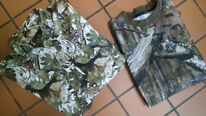 MEN'S SIZE M SHIRT  (LOT OF 2) OUTDOOR MOOSE CREEK & ROCKY GREEN CAMOUFLAGE