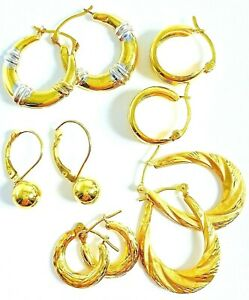 14K Yellow Gold 5 Pairs Of Ball and Hoop Earrings 5.1 Grams
