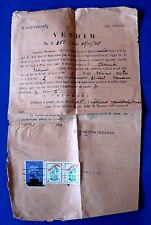 VINTAGE PAPER DECISION 1947  ALBANIA WITH 3 STAMP TAX & RED CROSS STAMP