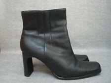 DOROTHY PERKINS UK 4 BLACK LEATHER ANKLE BOOTS