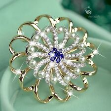 18k yellow white gold made with swarovski crystal flower spring brooch rotatable