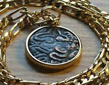 "11th c. Ancient India Raja Chola Empire 18KGF Pendant & 22"" Gold Filled Chain."