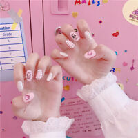 Pink Novelty Design Press On Nails Extra Short Full Cover False Nail Tips 24pcs