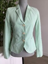 NWOT Womens J CREW Green White Seersucker Cotton 3 Button Blazer Size 2