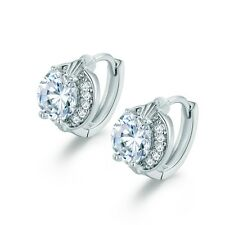 Antique Style 18k White Gold Filled White Sapphire Crystal Hoop Huggie Earrings