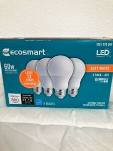 60-Watt Equivalent A19 Dimmable Energy Star LED Light Bulb Soft White (4-Pack)