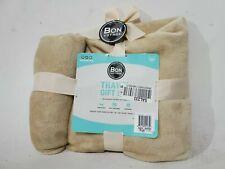 "$40 New Bon Voyage Travel Plush Velvet Throw Blanket Beige 50""x60"""