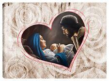 Quadro moderno 100x70 sacra famiglia madonna gesù capoletto rosa cuore capezzale