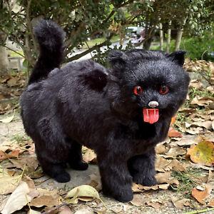 Realistic Lifelike Scary Black Cat Halloween Decoration Shorthair Furry Figurine