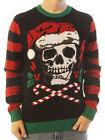 Ugly Christmas Sweater Men's Skull Santa Hat Light Up Pullover Sweatshirt