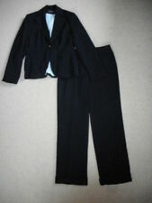 Womens Pant Suit-LARRY LEVINE-navy blue striped lined  ls-8
