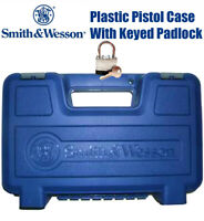 Smith & Wesson S&W Gun Pistol Case Storage Handgun Box Plastic W/Lock LARGE SIZE