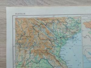 "Russian Topographic Map Vietnam 7.3x10.2"" Cold War Soviet Vintage 1958"