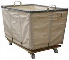 Wht. Canvas Laundry Basket Truck(With Wheels)6 Bushel