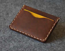 Thin wallet unisex  brown genuine leather credit card cash banknote holder pouch