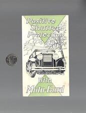 Vintage 1920's MOTO-GARD Radiator Shutters Brochure, Brewer-Titchner Corp. NY