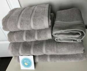 6 pc FRETTE Lanes Border Fume TOWEL SET Gray Grey 2 Bath & 2 Hand & 2 Washcloths