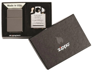"""Zippo Lighter And Pipe Insert Combo 1.44"""" x 2.25"""" Black Ice Windproof Refill,"""
