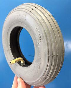 Reifen + Schlauch 200 x 50 bzw. 8 x 2 für Rollstuhl, grau, mit Winkelventil
